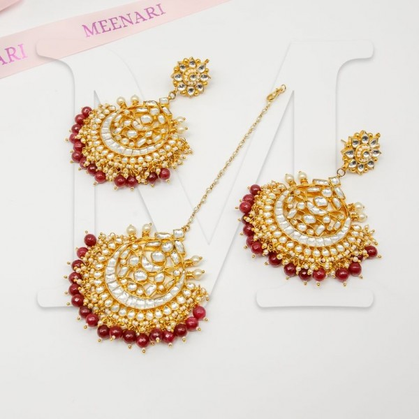 Shibani Kundan Maang Tikka Set - Color Options - Baby Pink