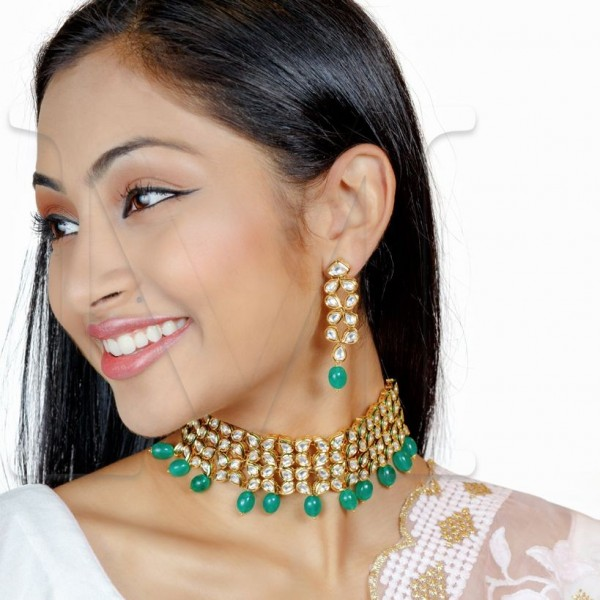 Juhi Kundan Choker Set-Color Options - Emerald