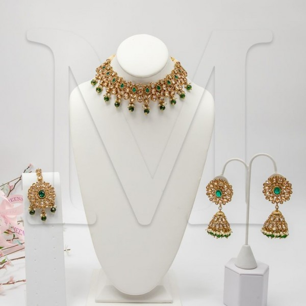 Jyotika Polki Necklace Set - Emerald