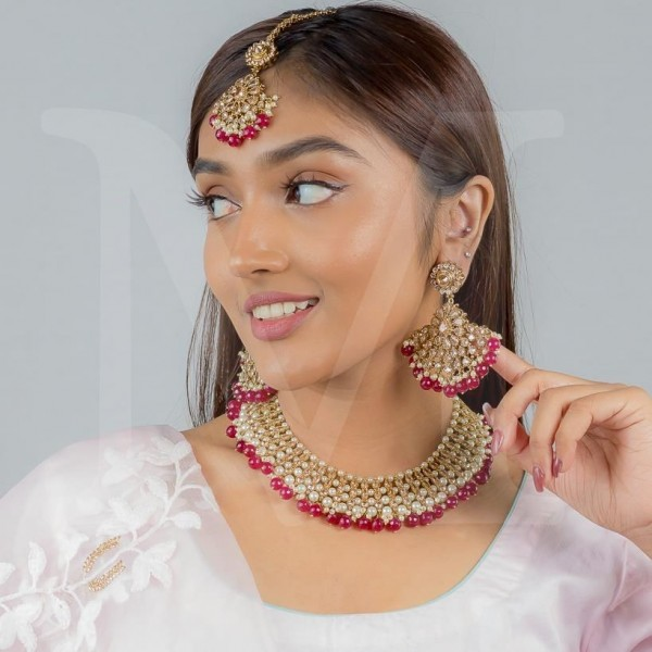 Sonakshi Polki Necklace Set - Color Options