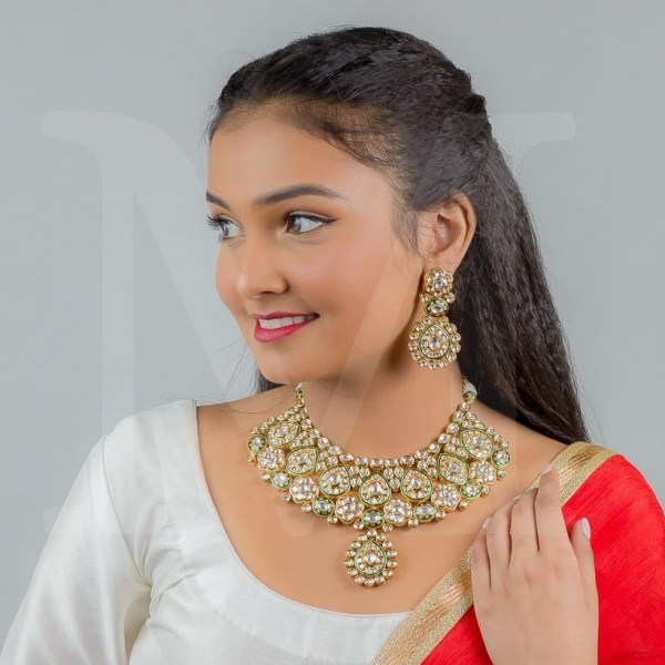 Neelam Kundan Necklace Set